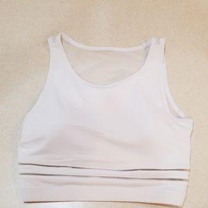 90 degree by Reflex white crop top sports bra mesh